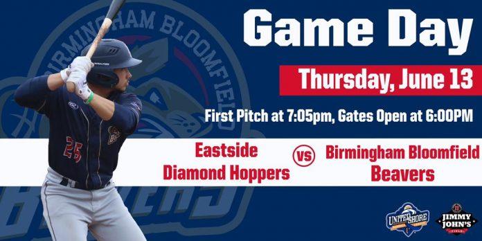 Birmingham Bloomfield Beavers vs Eastside Diamond Hoppers on 6/13/2019