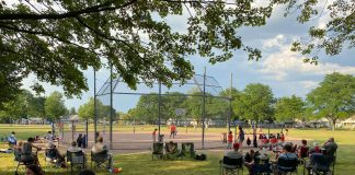 Dearbron Baseball field with players